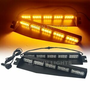 40 W Led Traffic Advisor Warning Strobe Sucker Split Deck Light Bar Amber 34