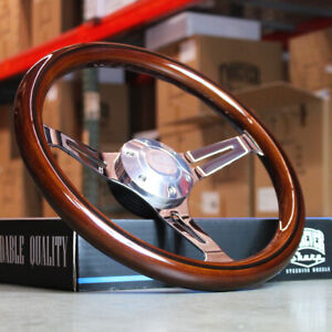 14 Inch 350mm Chrome Steering Wheel With Light Wood Grip 6 Hole Chevy Classic