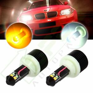 2pcs Cree 7443 7444 White Amber Dual Canbus Color Led Turn Signal Light
