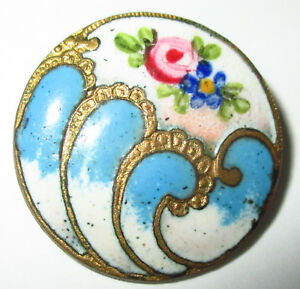 Antique French Enamel Button W Hand Painted Flower Peach Blue Champleve