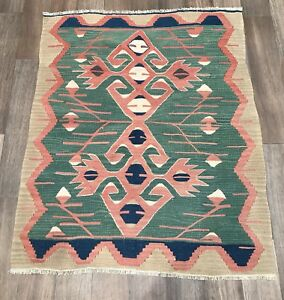 Turkish Vintage Old Kilim Rug Kelim Carpet From Oushak Bohemian 3 X3 7 Foot