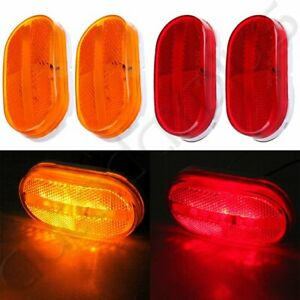 4pcs Red Amber 6 Led Rectangle Clearance Side Marker Lights Trailer Camper 12v