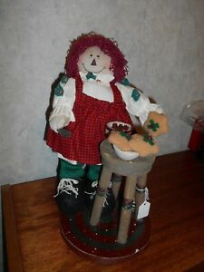 Raggedy Ann Doll In Her Kitchen Baking Cookies On A Stand With Baking Table