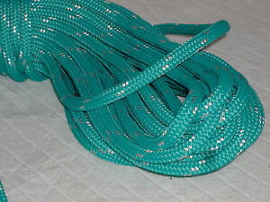 Double Braid Polyester Line 7 16x150 Ft Yacht Braid Teal Green W Tracer Halyard