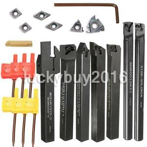 7pcs 10mm Shank Lathe Set Boring Bar Turning Tool Holder Kit With Carbide Insert