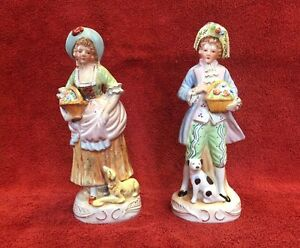Pair Of Vintage Porcelain Girl And Boy With Dog Figurine 9 2 Nice