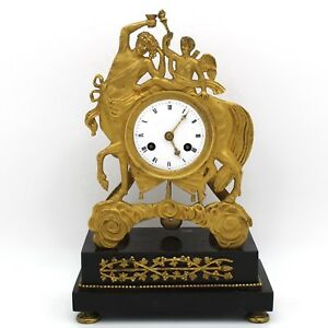French Empire Pendulum Mantel Clock Ormolu In Bronze And Marble 1820 Ca