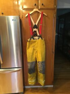 Globe Firefighter Bunker Turnout Suspender Gextreme Overalls Pants Sz 30
