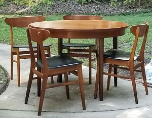 Mid Century Frem Rolje Danish Modern Round Table And Chairs Dining Game Set
