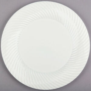 144 pack 10 Ivory Round Scalloped Plastic Dinner Plates