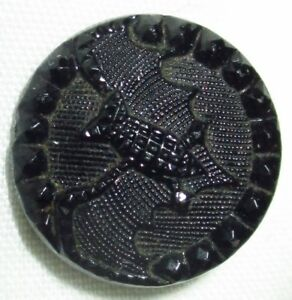 Antique Victorian Lacy Black Glass Picture Button W Winged Flying Bat 9 16