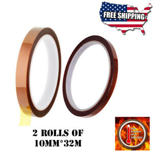 2 Rolls Heat Resistant Tapes Sublimation Press Transfer Thermal Tape 10mm 32m