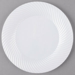 180 pack 7 White Round Scalloped Plastic Appetizer Dessert Plates