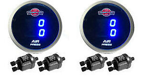 Two Air Gauges Dual 200psi Digital Display Air Ride Suspension System Tinted Led