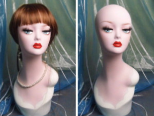 Hand painted Retro fashioned Head Mannequin For Bridal Jewelry Earing Display