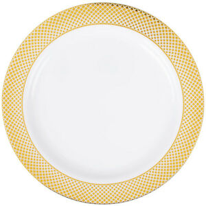 120 pack 9 White Plastic Dinner Plates With Gold Lattice Design