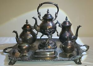 F B Rogers Silver Co 1883 Silver Plate 6 Piece Coffee Tea Set W Butter Dish