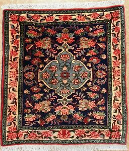 Persian Bijar Tribal Hand Knotted Wool Navy Ivory Red Fine Oriental Rug 2 X 3