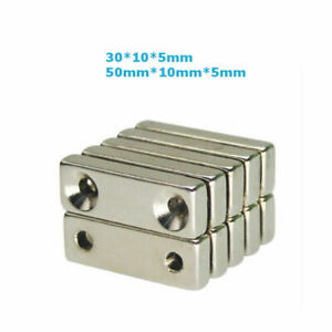 1 100 Tiny Strong 30 10 5mm 50 10 5mm With Holes Magnet N35 Rare earth Neodymium