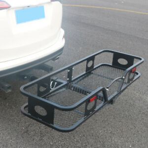 Folding Hitch Mounted Cargo Carrier Receiver Luggage Basket Travel Black 500lbs