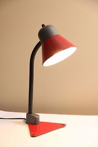 Memphis Modern Color Block Red Gray Triangle Desk Lamp Vtg