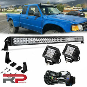 For 09 2014 Ford F150 Upper Roof Windshield 50 Curved Led Light Bar Combo Kit