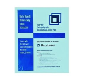 Bell Howell Type 400 Electrophotographic Microfilm Reader Printer Paper