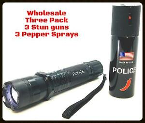 3 Pack Wholesale Metal Police Stun Gun Disable Pin Pepper Spray Rechargeable