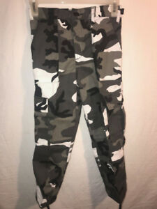 YOUTH JUNIOR MILITARY PAINTBALL HUNTING AIRSOFT CAMO ARCTIC SNOW WHITE PANTS $17.99