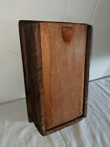 19th C Old Original Primitive Early Wood Sliding Lid Candle Box