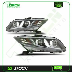 Head Light With Chrome Housing Clear Lens For 2012 2013 Honda Civic 2dr 4dr