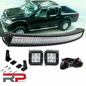 For 2005 2012 Nissan Pathfinder 50 Inch Curved Led Light Bar Combo 4 Pods Cube
