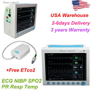 Portable Vital Sign Patient Monitor Multiparameter Icu Ccu Capnography Etco2 fda
