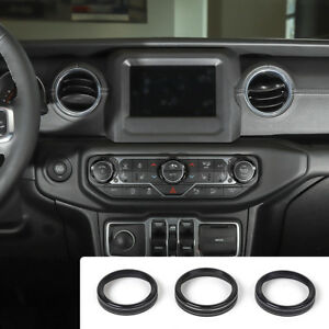 3pcs Black Air Conditioner Switch Ring Cover Trim For 18 Jeep Wrangler Jl Parts