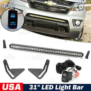 Fit 15 18 Gmc Canyon Chevy Colorado Front Bumper 31 Slim Led Light Bar Kit
