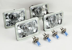 Four 4x6 Halogen Semi Sealed H4 Clear Projector Headlights Conversion Bulbs