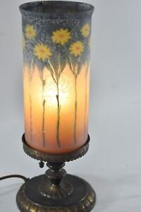 Antique Handel Glue Chip Glass Parlor Mantle Lamp Shade Daisies Signed 6989