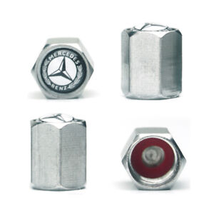 4 Tire Valve Stem Caps Rubber Seal Logo For Mercedes Benz Chrome Plated Copper