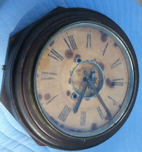 Antique Mahogany Wood Eight Sided Wall Clock Complete Original Parts Or Repair