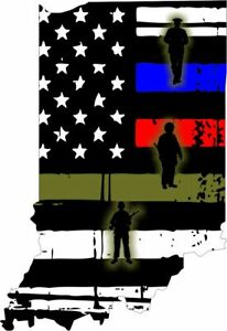 Thin Blue Line Indiana State With Soldiers Fire And Police Decal Various Sizes
