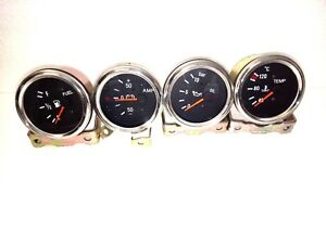 2 52mm Electrical Temp C Oil Pressure Bar Fuel Amp Gauge Black Chrome