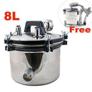 8l Autoclave Dental Stainless Steel Pressure Steam Sterilizer 110v 220v usa