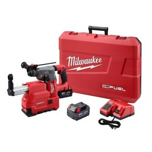 Milwaukee Cordless 1 In Rotary Hammer Dust Extractor Kit 18v Sds plus Batteries