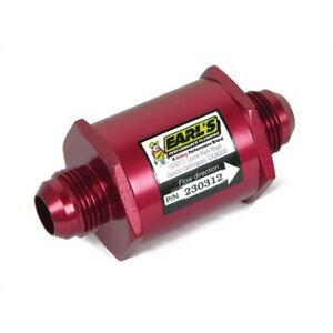 Earls 230312erl In line Oil Filter 12 An Red Anodized
