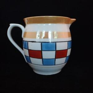 Vintage Lustreware Porcelain Milk Pitcher Blue Red Checkerboard Pattern Austria