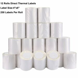 12 Rolls Of 250 4x6 Direct Thermal Shipping Mailing Labels Zebra 2844 450 Eltron