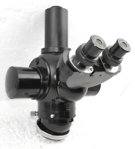 Carl Zeiss Trinocular Head For Photo Microscope With Optovar Magnifier Disc