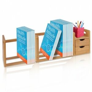 Serene life Bamboo Desktop Shelf Organizer Unit With Drawers Adjustable Shelf