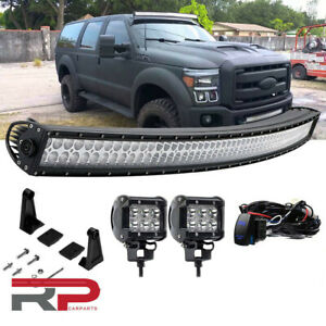 00 05 Ford Excursion Upper Roof Windshield 50 curved Offroad Led Light Bar Combo