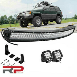 50 Inch Curved Led Offroad Light Bar 4 Pods Cube 1993 98 Jeep Grand Cherokee Zj
